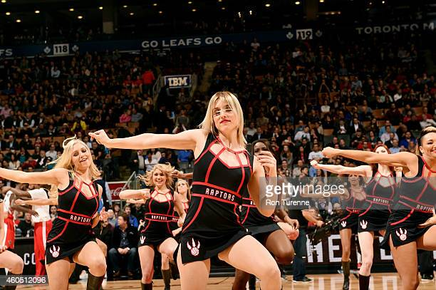 The Toronto Raptors dance team performs during a game against the Orlando Magic on December 15 2014 at the Air Canada Centre in Toronto Ontario...