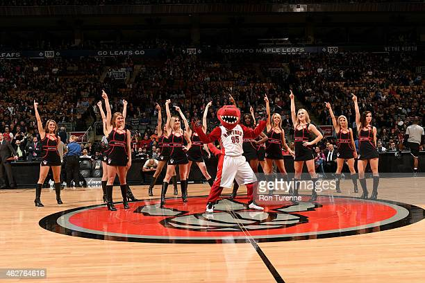 The Toronto Raptors dance team performs during a game against the Brooklyn Nets on February 4 2015 at the Air Canada Centre in Toronto Ontario Canada...