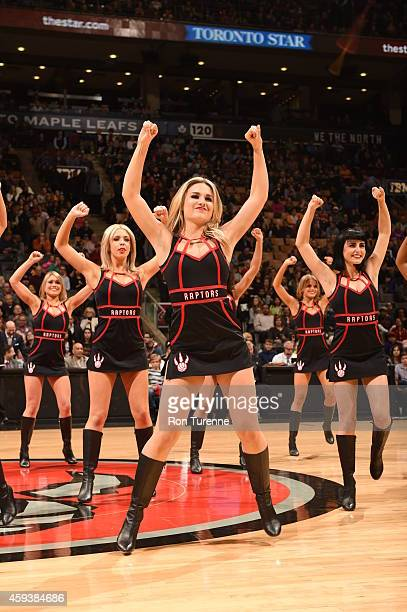 The Toronto Raptors dance team performs during the game against the Milwaukee Bucks on November 21 2014 at the Air Canada Centre in Toronto Ontario...