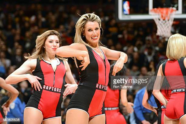 The Toronto Raptors dance team performs during the game against the Brooklyn Nets on February 4 2015 at the Air Canada Centre in Toronto Ontario...