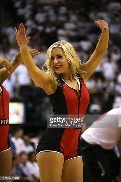 The Toronto Raptors dance team performs during the game against the Washington Wizards during Game One of the Eastern Conference Quarterfinals of the...