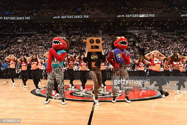 The Toronto Raptors dance team performs during the game against the Washington Wizards in Game Two of the Eastern Conference Quarterfinals during the...