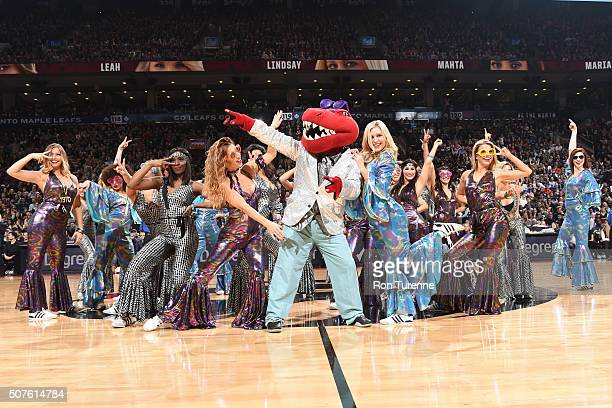 The Toronto Raptors dance team performs during the game against the Detroit Pistonson January 30 2016 at the Air Canada Centre in Toronto Ontario...