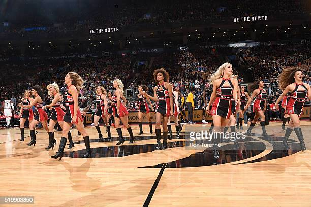 The Toronto Raptors dance team performs during the game against the Indiana Pacers on April 8 2016 at the Air Canada Centre in Toronto Ontario Canada...