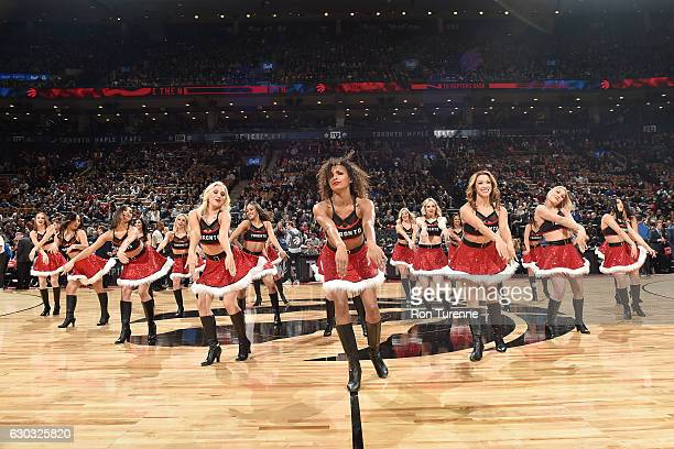 The Toronto Raptors dance team performs during the game against the Brooklyn Nets on December 20 2016 at the Air Canada Centre in Toronto Ontario...