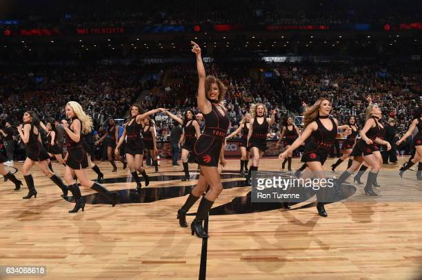 The Toronto Raptors dance team performs during the game against the LA Clippers on February 6 2017 at the Air Canada Centre in Toronto Ontario Canada...
