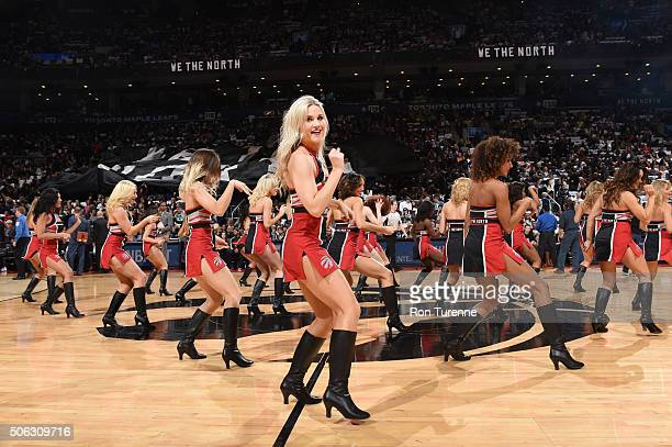 The Toronto Raptors dancers perform before the game against the Miami Heat on January 22 2016 at Air Canada Centre in Toronto Canada NOTE TO USER...