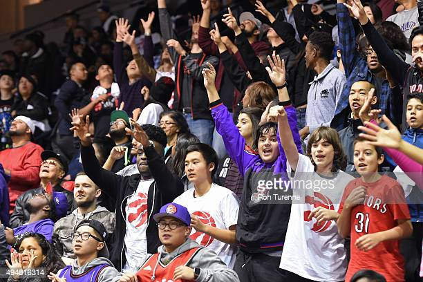 The Toronto Raptors fans attend an Open Practice on October 21 2015 at the Hershey Centre in Mississauga Ontario Canada NOTE TO USER User expressly...