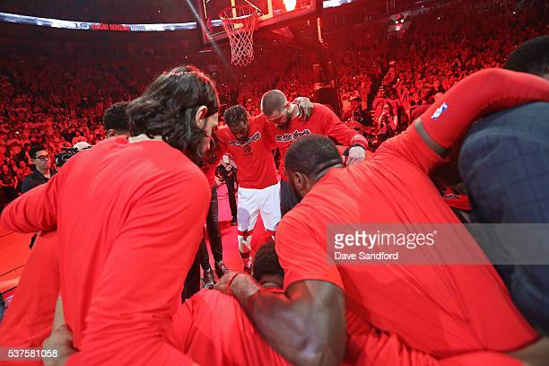 The Toronto Raptors huddle up before Game Six of the NBA Eastern Conference Finals against the Cleveland Cavaliers at Air Canada Centre on May 27...