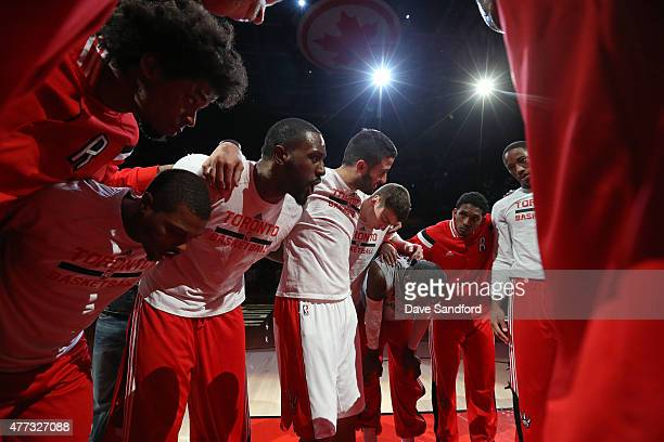 The Toronto Raptors huddle up before the game against the Chicago Bulls at the Air Canada Centre on November 13 2014 in Toronto Ontario Canada NOTE...