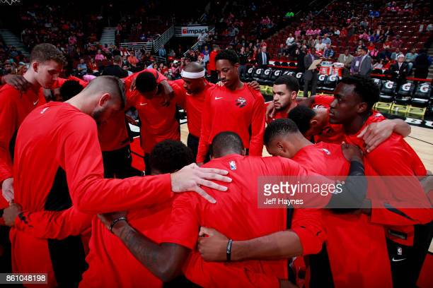 The Toronto Raptors huddle up before the game against the Chicago Bulls on October 13 2017 at the United Center in Chicago Illinois NOTE TO USER User...