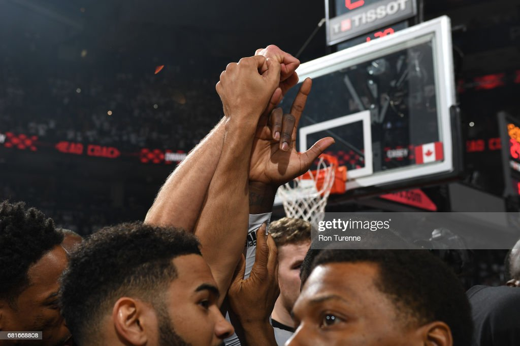 The Toronto Raptors huddle up before the game against the Cleveland Cavaliers during Game Three of the Eastern Conference Semifinals of the 2017 NBA Playoffs on April 18, 2017 at the Air Canada Centre in Toronto, Ontario, Canada.