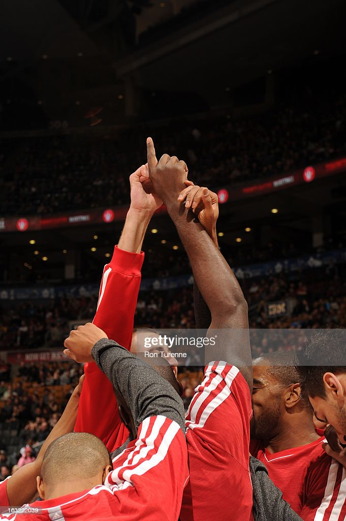 The Toronto Raptors huddle up before the game against the Indiana Pacers on March 1, 2013 at the Air Canada Centre in Toronto, Ontario, Canada.