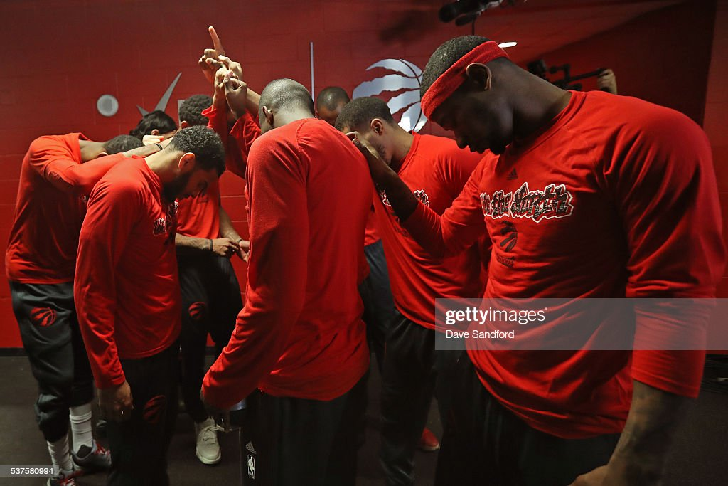 The Toronto Raptors huddle up in the hallway before Game Six of the NBA Eastern Conference Finals against the Cleveland Cavaliers at Air Canada...