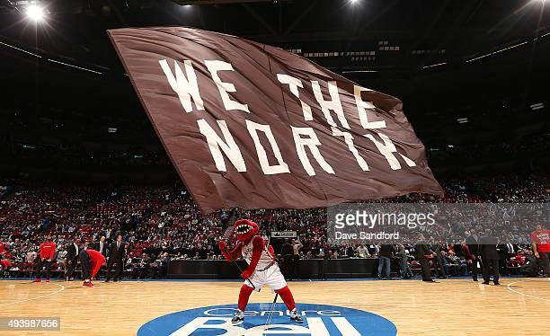 The Toronto Raptors mascot during the game against the Washington Wizards at the Centre Bell on October 23 2015 in Montreal Quebec Canada NOTE TO...