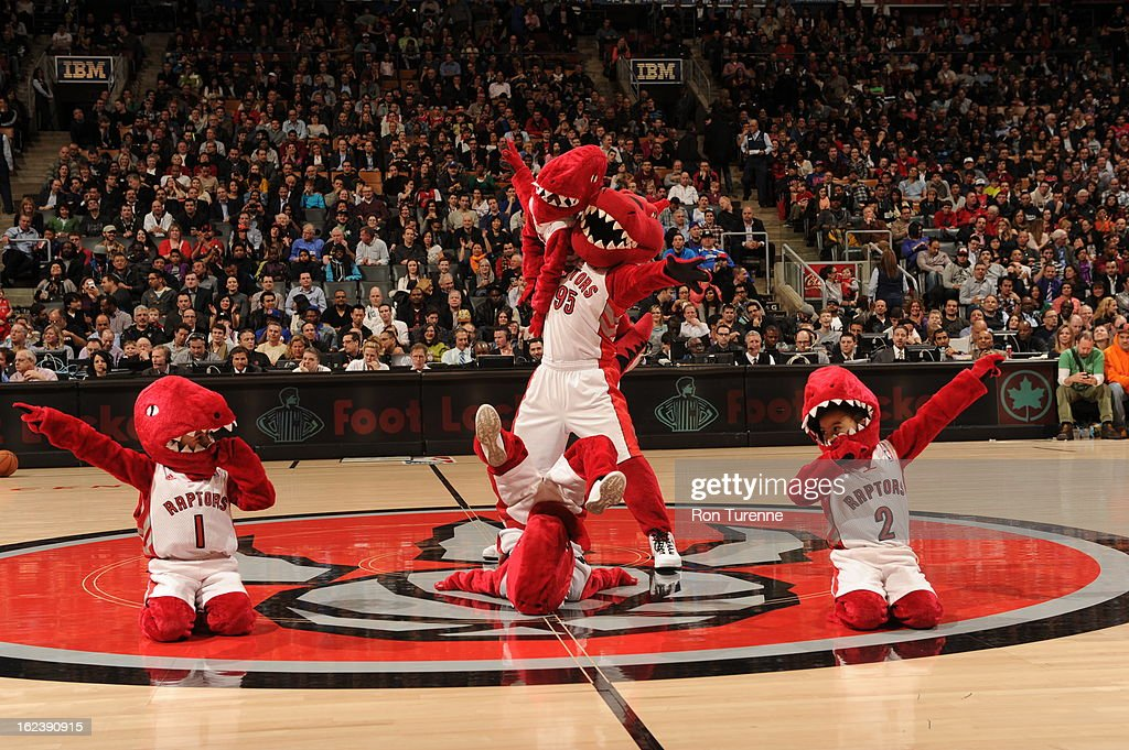 The Toronto Raptors mascot performs during halftime against the New York Knicks on February 22, 2013 at the Air Canada Centre in Toronto, Ontario, Canada.