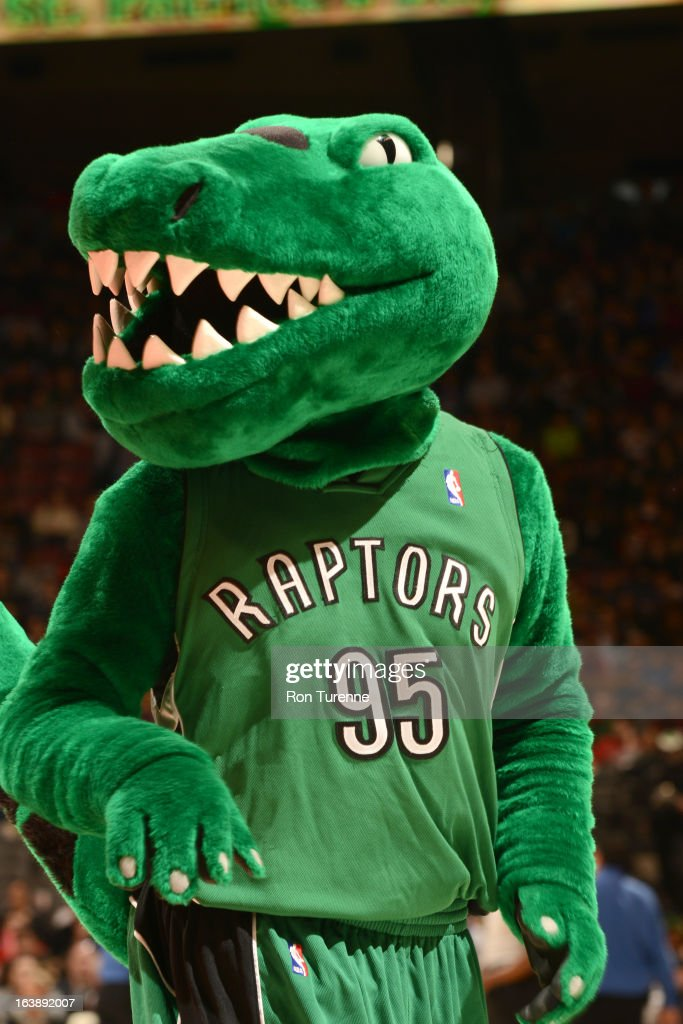 The Toronto Raptors mascot performs during the game between the Toronto Raptors and the Miami Heat on March 17, 2013 at the Air Canada Centre in Toronto, Ontario, Canada.