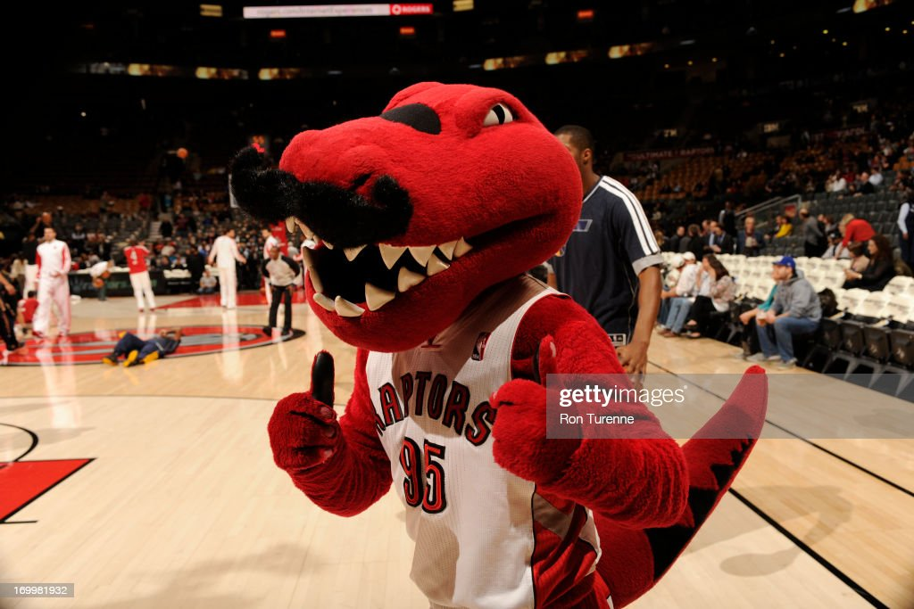 The Toronto Raptors Mascot 'Raptor ' gets the crowd pumped up against the Utah Jazz during the game on November 12, 2012 at the Air Canada Centre in Toronto, Ontario, Canada.