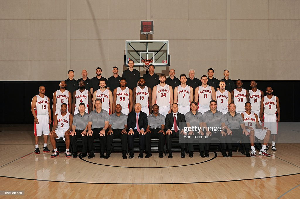 The Toronto Raptors players and coaches pose for a Team Photo on April 12, 2013 in Toronto, Canada.