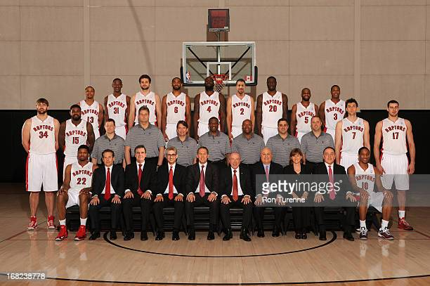 The Toronto Raptors players and coaches pose for a Team Photo on April 12 2013 in Toronto Canada NOTE TO USER User expressly acknowledges and agrees...
