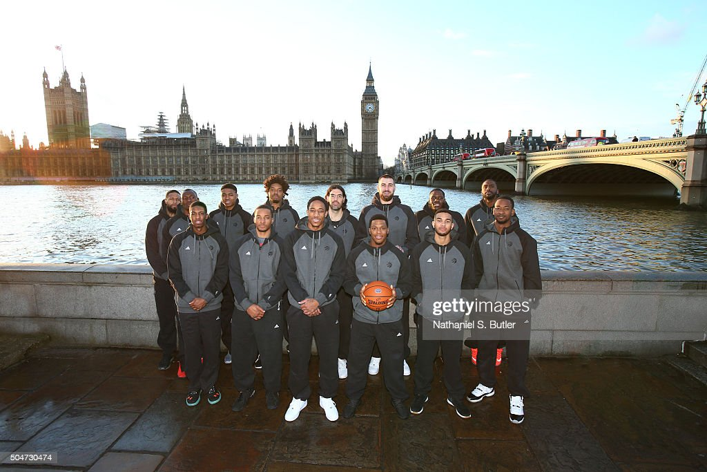 The Toronto Raptors poses for a team photo as part of the 2016 Global Games London on January 12, 2016 at Big Ben in London, England.
