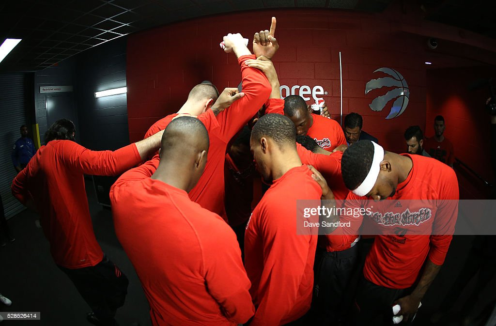 The Toronto Raptors say a team prayer prior to facing the Miami Heat during game 2 of the NBA Eastern Conference Semi Finals at Air Canada Centre on May 5, 2016 in Toronto, Ontario, Canada.