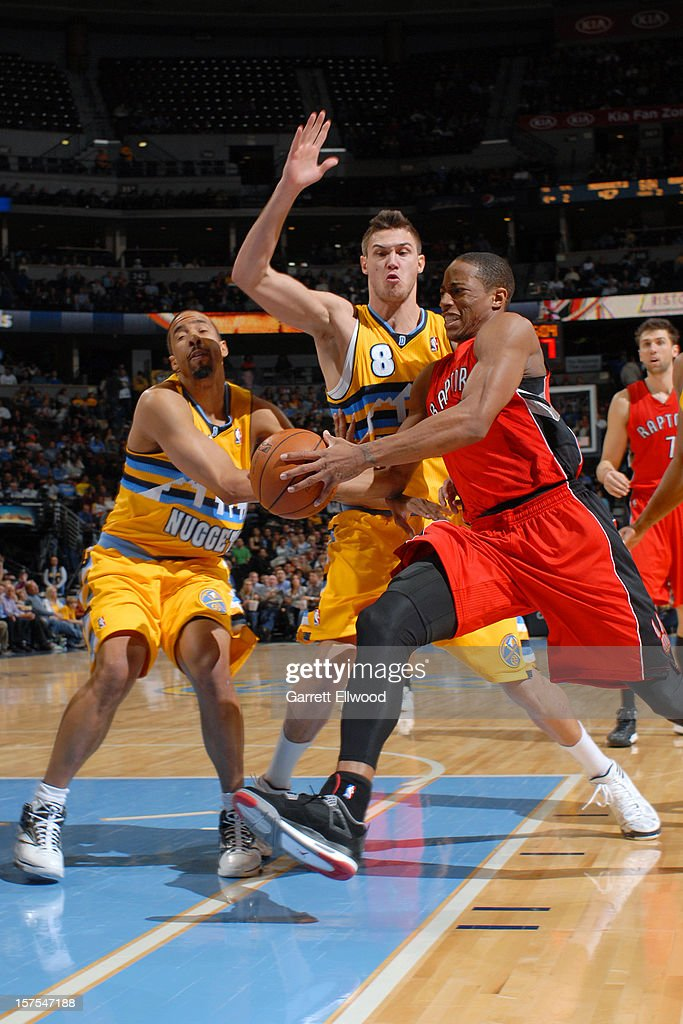 The Toronto Raptors versus the Denver Nuggets on December 3, 2012 at the Pepsi Center in Denver, Colorado.