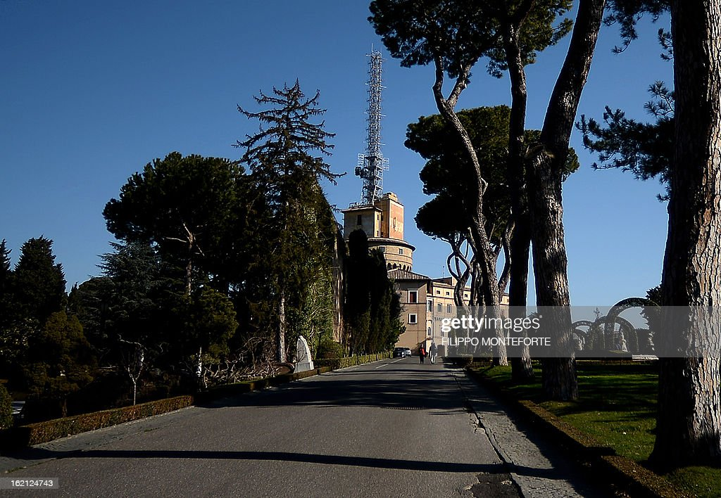 The Torre dei Venti with the radio antenna, the historical Radio Vaticana venue is seen inside the Vatican City State on February 19, 2013. Pope Benedict XVI will be hosted in the convent of Mater Ecclesiae (Mother of the Church) offering him a substantial four-story modern home complete with contemporary chapel, garden and a roof terrace looking out from a rise dominated by the Holy See's TV transmission tower. Pope Benedict XVI began a week-long spiritual retreat out of the public eye on Monday ahead of his resignation on February 28 with the field of candidates to succeed him still wide open. AFP PHOTO/ Filippo MONTEFORTE