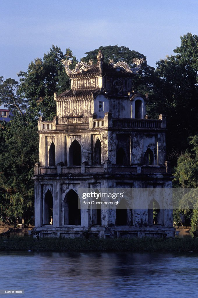 The Tortoise Tower in Hoan Kiem Lake in Hanoi : Stock Photo