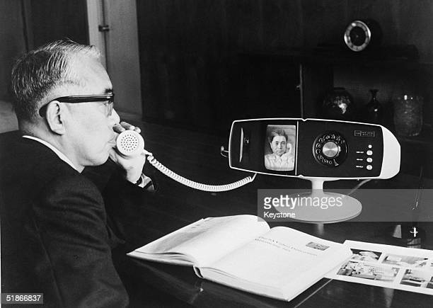 The Toshiba company's new videophone the Model 500 View Phone being tested at the company's Tokyo headquarters 6th May 1968