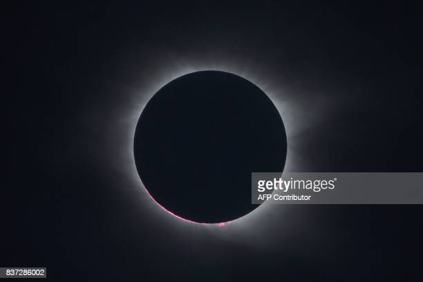 The total solar eclipse is seen from Charleston South Carolina on August 21 2017 / AFP PHOTO / MANDEL NGAN