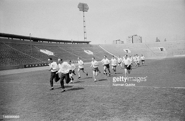 The Tottenham Hotspur football team training at Omladinski stadion Belgrade Serbia April 1963 They are to play OFK Beograd in a European Cup Winners'...