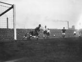 The Tottenham Hotspur goalkeeper makes a save during a league match against Manchester United at Old Trafford 4th October 1913 Manchester United won...