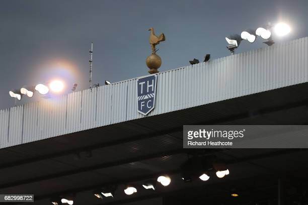 The Tottenham Hotspur logo is seen on the stand during the Premier League match between Tottenham Hotspur and Manchester United at White Hart Lane on...