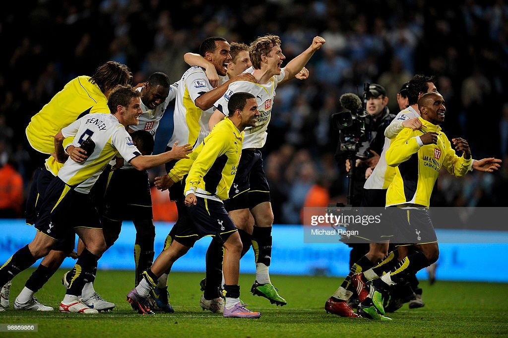 The Tottenham Hotspur players celebrate at the end of the Barclays Premier League match between Manchester City and Tottenham Hotspur at the City of Manchester Stadium on May 5, 2010 in Manchester, England.
