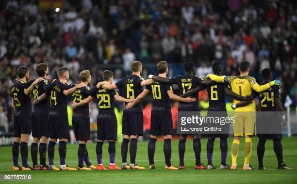 The Tottenham Hotspur team line up ahead of the UEFA Champions League group H match between Real Madrid and Tottenham Hotspur at Estadio Santiago...