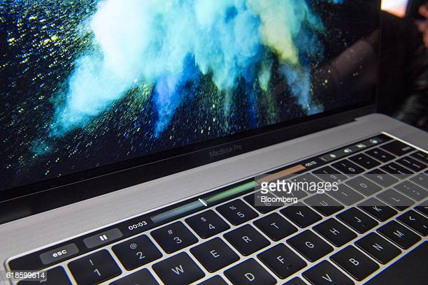 The Touch Bar is seen on a new MacBook Pro laptop computer during an event at Apple Inc headquarters in Cupertino California US on Thursday Oct 27...