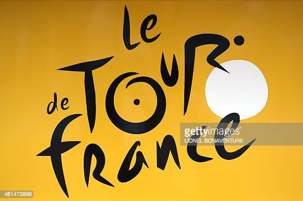 The Tour de France logo is pictured in a street of Utrecht The Netherlands on July 1 three days before the start of the 102th edition of the Tour de...