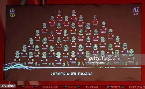 The touring squad is unveiled during the British and Irish Lions tour squad announcement at the Hilton London Syon Park Hotel on April 19 2017 in...