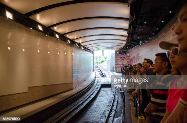 The Tourists waiting for the peak tram at Hong Kong
