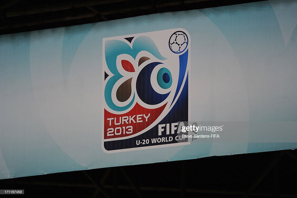 The tournament badge on a hoarding during the FIFA U20 World Cup Group D match between Paraguay and Mali at Kamil Ocak Stadium on June 22, 2013 in Gaziantep, Turkey.