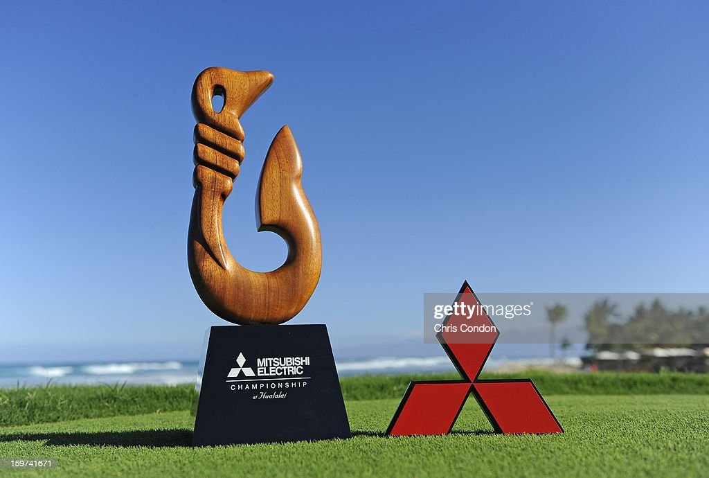 KA'UPULEHU-KONA, HI - JANUARY 19: The tournament trophy and a tee marker on display during the second round of the Mitsubishi Electric Championship at Hualalai Golf Club on January 19, 2013 in Ka'upulehu-Kona, Hawaii.