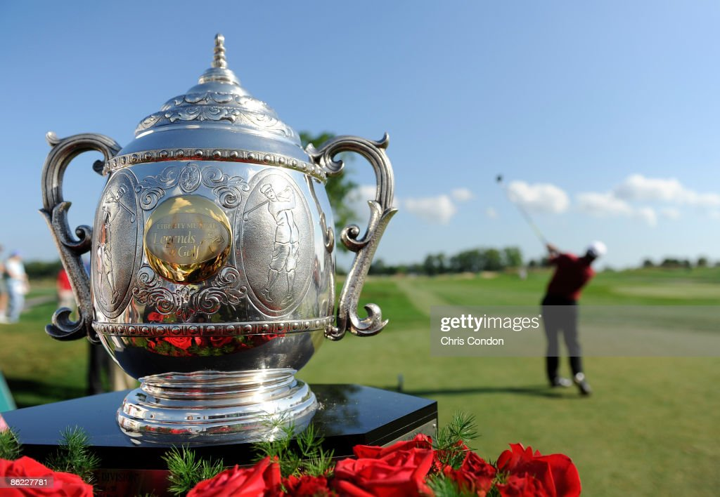 The tournament trophy is displayed on the first tee during the final round of the Legends Division at the Liberty Mutual Legends of Golf at Westin...