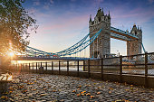 The Tower Bridge in London, United Kingdom, during a golden sunrise