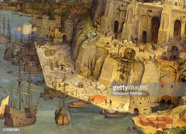'The Tower of Babel by Pieter Bruegel the Elder 16th century oil on panel 114 x 155 cm Austria Vienna Kunsthistorisches Museum Detail Port with the...