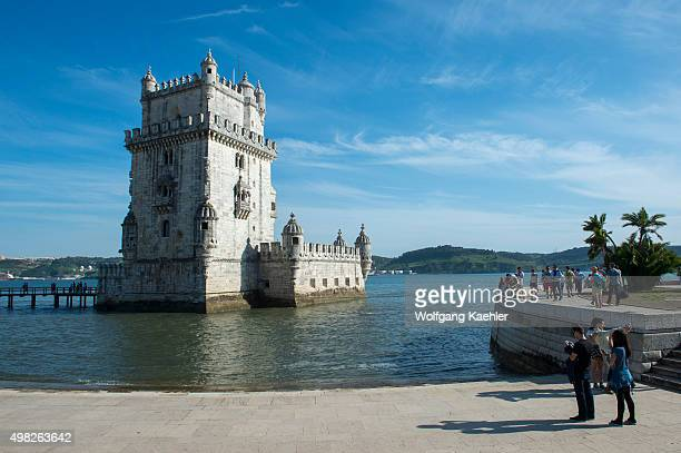 The Tower of Belem a UNESCO World Heritage Site at the shore of the Tagus River in Lisbon the capital city of Portugal