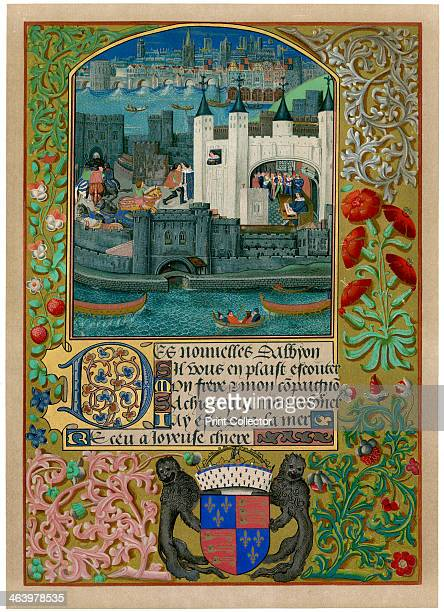 The Tower of London with London Bridge c1500 Charles Duke of Orleans can be seen writing inside the Tower of London and also at a window and in the...