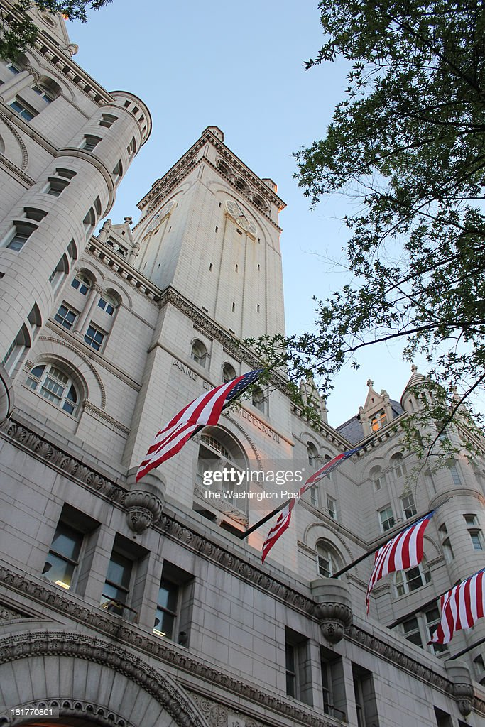 The tower of the Old Post Office on Pennsylvania Avenue NW at Monday's celebration honoring the 30th anniversary of the Congress Bells, a gift from Sir David Wills. Wills founded the Ditchley Foundation.