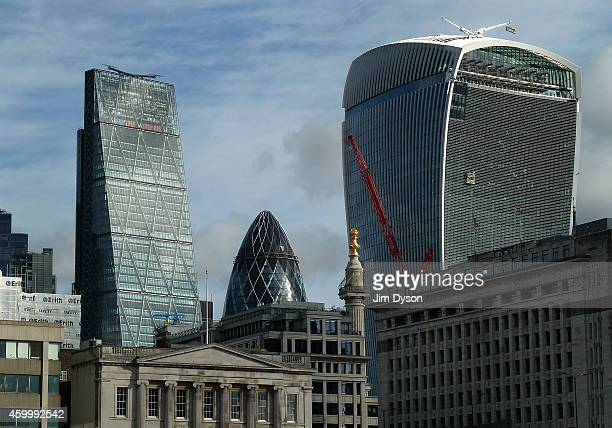 The towers of 122 Leadenhall Street also known as the Cheesegrater 30 St Mary Axe also known as The Gherkin and 20 Fenchurch Street also known as The...