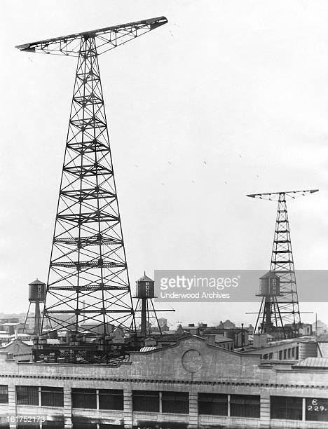 The towers of WNY radio station atop the Bush Terminal in Brooklyn New York New York 1924